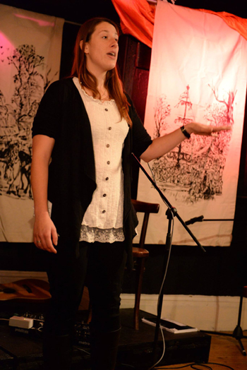 Chantelle performing at Devizes Folk Club, October 2016
